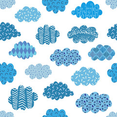 Doodle blue clouds seamless pattern. Vector background with abstract patterned clouds on white.