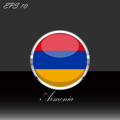 Republic of Armenia flag isolated on black background. Armenian flag button, silver chrome ring. Armenia sport competition participant. Web button, language sign, print graphic element. Clip art icon