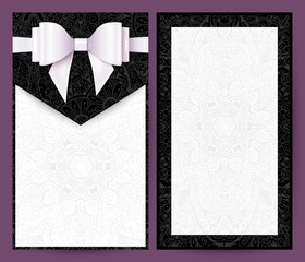 Elegant black and white vector wedding invitation