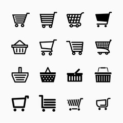 Shopping cart icons set, Add to cart website symbols, user interface pictograms for webdesign or application design,, vector illustration