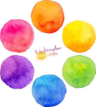 Rainbow watercolor vector circles