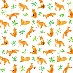 Fox and plants seamless pattern.Watercolor hand drawn illustration.White background.
