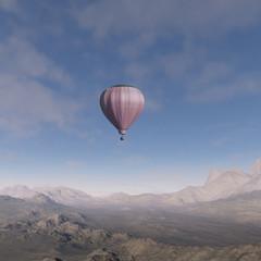 3D: Hot air balloon flying over a desert