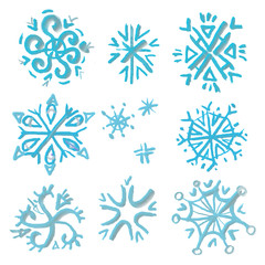 Watercolor snowflakes set isolated.