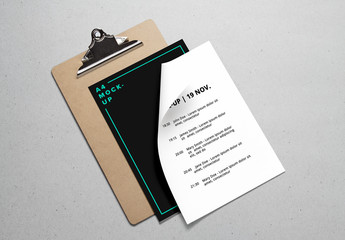 A4 Papers & Clipboard Mockup