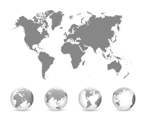 Wall Mural - World Map and Globe Detail Vector Illustration, EPS 10