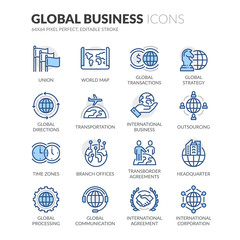 Line Global Business Icons
