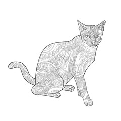 Line art of cat for coloring on white background