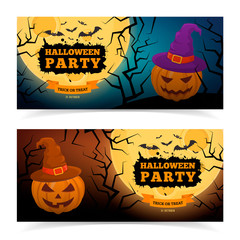 Spooky pumpkin in witch hat.