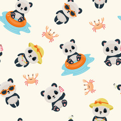 Panda in summer seamless pattern