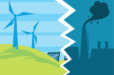 Vector illustration of evolution from industrial pollution to clean energy. Greening of the world banner. Traditional and alternative natural electricity resources. Development green technology