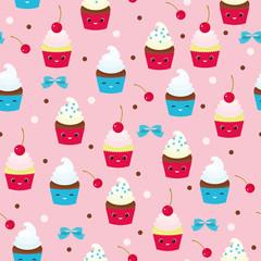Muffins seamless pattern