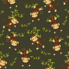 Seamless wallpaper. Monkeys hanging on the liana
