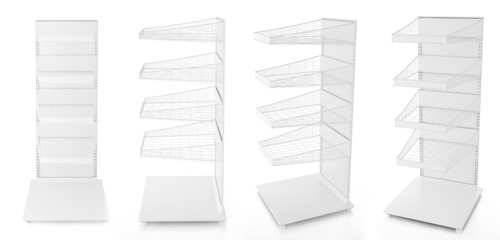 Empty display stand with wire shelves