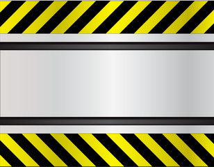 Metal plate with warning strip background