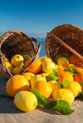 Wicker baskets full of oranges and lemons on a piece of jute with blue sky and sea in the background