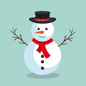 snowman christmas character icon