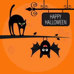 Cat arch back on tree branch. Cute hanging bat. Happy Halloween greeting card. Wrought iron sign board. Funny cartoon character. Big moon. Orange background. Flat design.