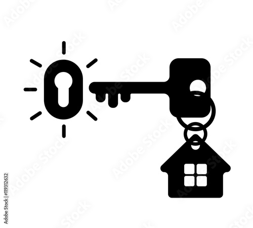 key with keyhole and house silhouette stock image and royalty free