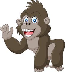 Funny gorilla waving hand