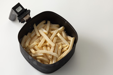 freeze fries french close up flat lay