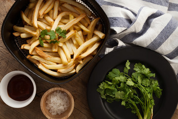 fries french ketchup herb still life flat lay