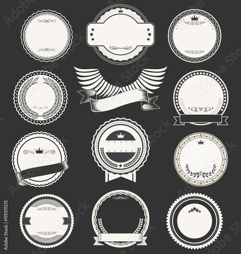 Blank Retro Vintage Badges And Labels Collection Vector