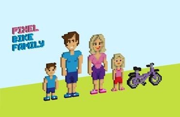 3d Pixel bike family, pixelated illustration. - Stock vector