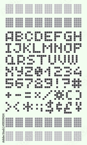 Quot Pixel Font In 4x5 Pixel Grid Numbers And Letters