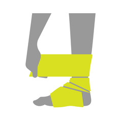 Flat icon injured leg or foot with a bandage on white background.