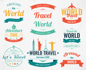 Set of vintage Travel badges and labels. Holiday Elements Icons. Travel and Tourism. Vector
