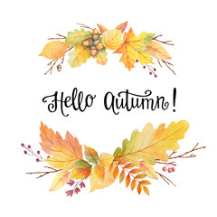 Hello autumn watercolor wreath with colored leaves and hand lettering.