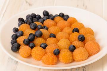 Blueberries and yellow raspberries
