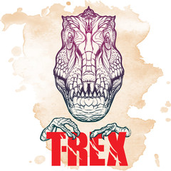 Tyrannosaurus roaring head with t-rex sign on Grunge background