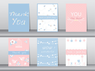 Set of invitation cards,thank you cards,poster,template,greeting cards,animals,birds,flowers,Vector illustrations