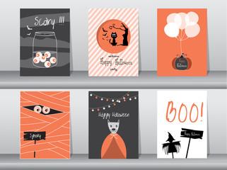 Halloween Posters set. Vector illustration.