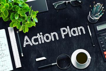 Action Plan on Black Chalkboard. 3D Rendering.