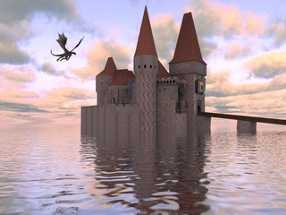 3D Illustration Of A Castle On The Water And Dragon