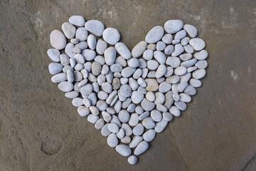 Heart of white stones