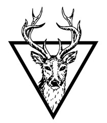 hipster logo with deer