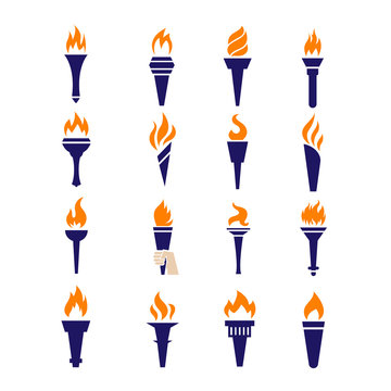 Olympic fire torch victory championship flame flat vector icons set