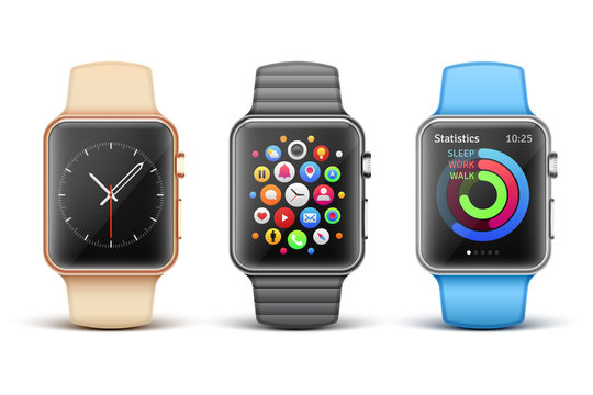Smart electronic apple watches vector set