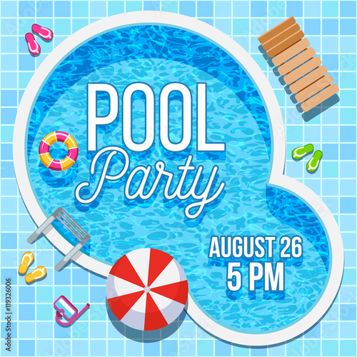 Summer Party Invitation With Swimming Pool Vector Template Stock Image And Royalty Free Vector