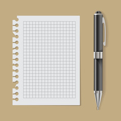 Vector White Paper with Pen