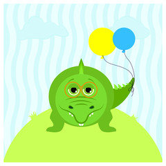 Illustration of a cartoon cute crocodile with balloons and with glasses.