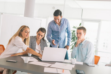 Defining the steps to corporate success. Business people working in office