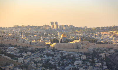 View on old city Jerusalem at sunset