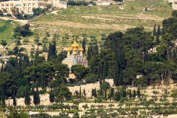 Russian orthodox Church of Maria Magdalena on Mount of Olives