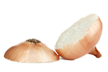 Sliced onion on white background isolated