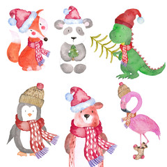 Christmas Animals Dino Fox Bear Penguin Flamingo panda Winter watercolor Hand-painted illustration cute animal holidays Seasonal Isolated hat scarf